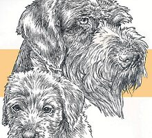 German Wire-haired Pointer, Father and Son by BarbBarcikKeith