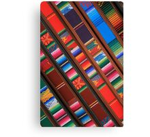 Angled Handmade Belts in the Market Canvas Print