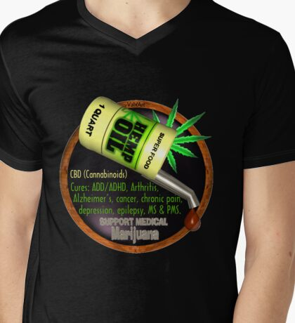 Hemp Oil cures by valxart  learn truth about use of hemp oil to cure illness and pains. Mens V-Neck T-Shirt