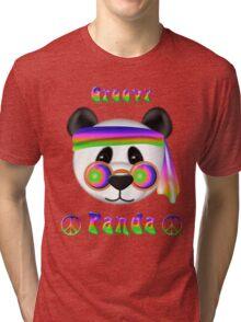 Groovy Panda Bear Psychedelic Tri-blend T-Shirt