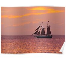 Red Sails in Sunset Poster