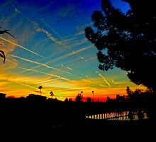 Contrail Sunset In Yuma by Al Bourassa
