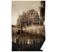 Trees and waterfall in sepia tone 3 Poster