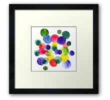 Abstract watercolor multi-colored polka dots.  Framed Print