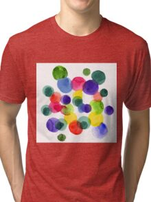 Abstract watercolor multi-colored polka dots.  Tri-blend T-Shirt