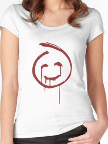 Red John Smiley Face   Women's Fitted Scoop T-Shirt