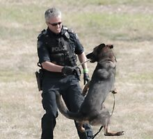 Now We're Having Fun! - Police Dog & His Handler by Daphne Eze