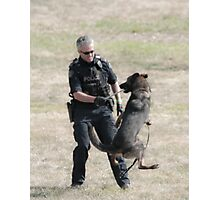 Now We're Having Fun! - Police Dog & His Handler Photographic Print