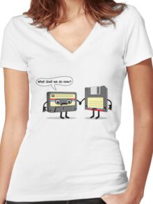 The Obsoletes (Retro Floppy Disk Cassette Tape)  Women's Fitted V-Neck T-Shirt