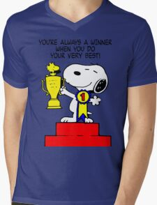 Winner Snoopy Mens V-Neck T-Shirt