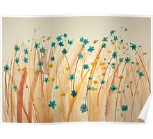 Field of wild blue flowers Poster