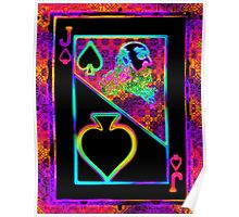 Double Neon Jack of Spades Poster