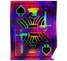 Double Neon King of Spades Poster