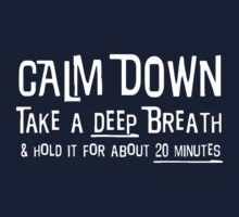 Calm down, take a deep breath and hold it for 30 minutes by artack