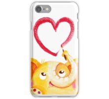 Painter - Rondy the Elephant painting a heart iPhone Case/Skin