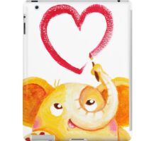 Painter - Rondy the Elephant painting a heart iPad Case/Skin