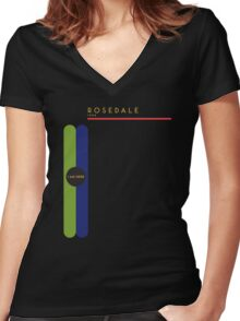Rosedale 1966 station Women's Fitted V-Neck T-Shirt
