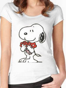Snoopy Flowers Women's Fitted Scoop T-Shirt