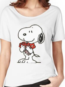 Snoopy Flowers Women's Relaxed Fit T-Shirt