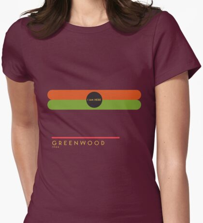 Greenwood 1966 station Womens Fitted T-Shirt