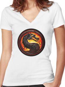 Mortal Kombat logo Women's Fitted V-Neck T-Shirt