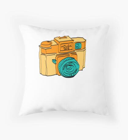 Colorful Holga Camera Sketch Throw Pillow