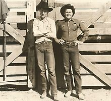 Bill Linderman and Bill Hancock At the Phoenix Rodeo 1943 by Robert Stanford