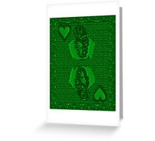 Green King of Hearts Greeting Card