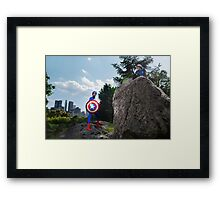 Captain America on a Rock Framed Print