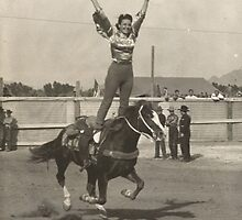 Bernice Taylor - Trick Riding At The Phoenix Rodeo 1942 by Robert Stanford