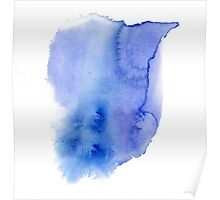 Hand painted blue watercolor abstract blur. Indigo Poster