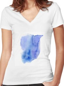 Hand painted blue watercolor abstract blur. Indigo Women's Fitted V-Neck T-Shirt