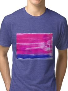 Hand painted watercolor abstract blur. Indigo and pink Tri-blend T-Shirt