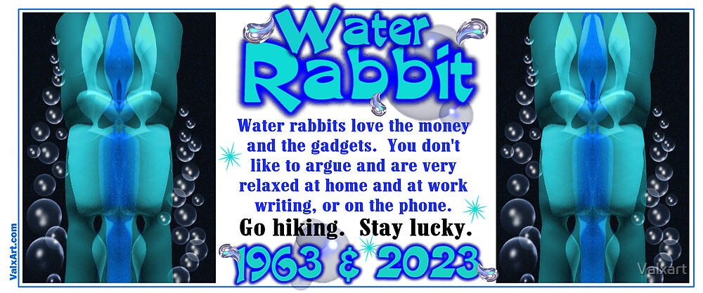 1903 1963 2023 Chinese zodiac born in year of Water Rabbit  by Valxart