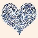 Blue Brocade Paisley Heart by Tangerine-Tane