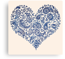 Blue Brocade Paisley Heart Canvas Print