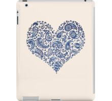 Blue Brocade Paisley Heart iPad Case/Skin