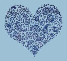 Blue Brocade Paisley Heart Kids Clothes