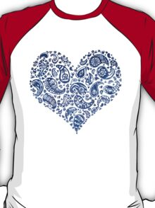 Blue Brocade Paisley Heart T-Shirt