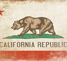 Postcard with Distressed California Flag by Geezon