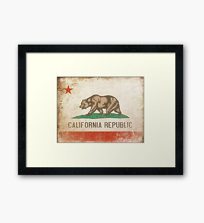 Poster with Distressed California Flag Framed Print