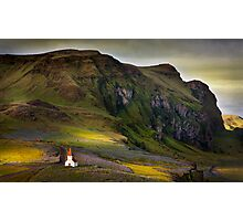 Last light on Vik kirkja Photographic Print