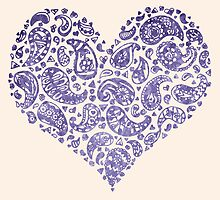 Purple Brocade Paisley Heart by Tangerine-Tane
