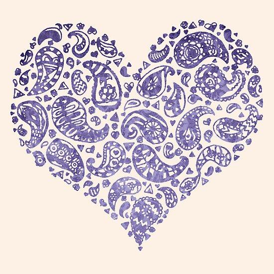 Purple Brocade Paisley Heart by Tangerine-Tane