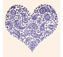 Purple Brocade Paisley Heart Photographic Print