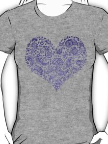 Purple Brocade Paisley Heart T-Shirt