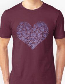 Purple Brocade Paisley Heart Unisex T-Shirt