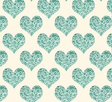Emerald Brocade Paisley Heart Pattern by Tangerine-Tane