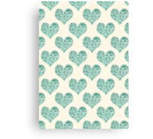 Emerald Brocade Paisley Heart Pattern Canvas Print