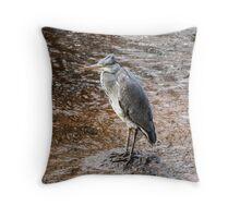 Grey Heron on the River Ayr Throw Pillow